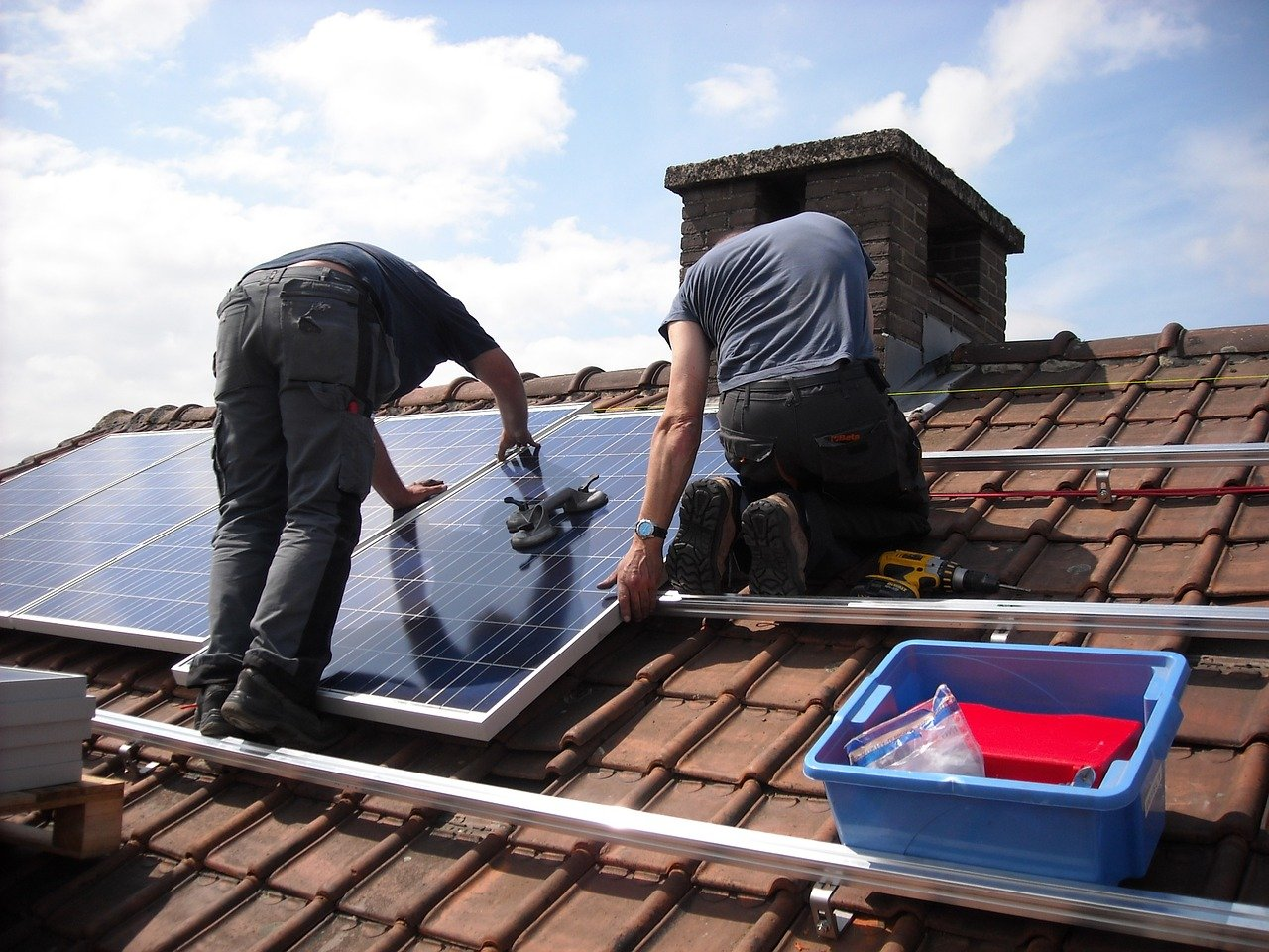 Installing solar panels on a house renovation in Spain