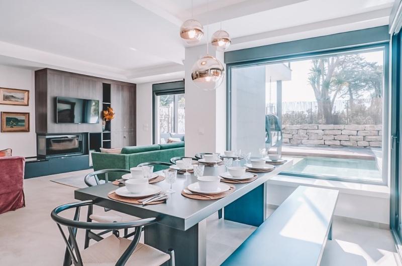 The dining area inside Villa Ligera