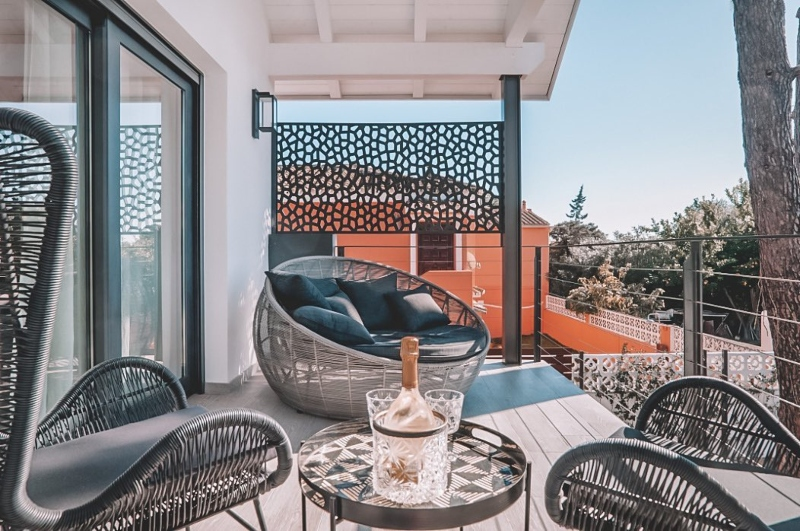 Outdoor seating at Villa Ligera